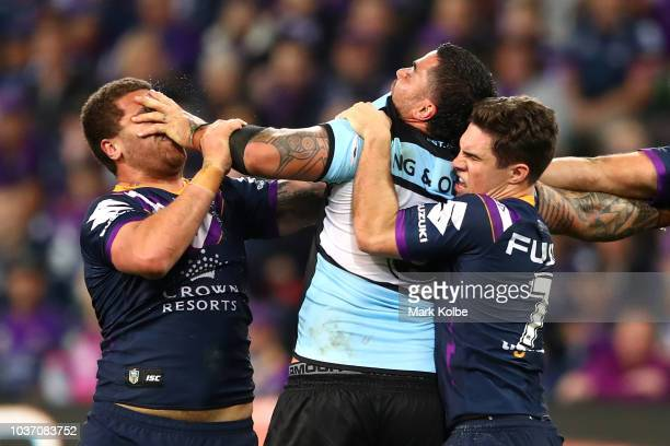 Kenny Bromwich of the Storm and Andrew Fifita of the Sharks have an altercation during the NRL Preliminary Final match between the Melbourne Storm...