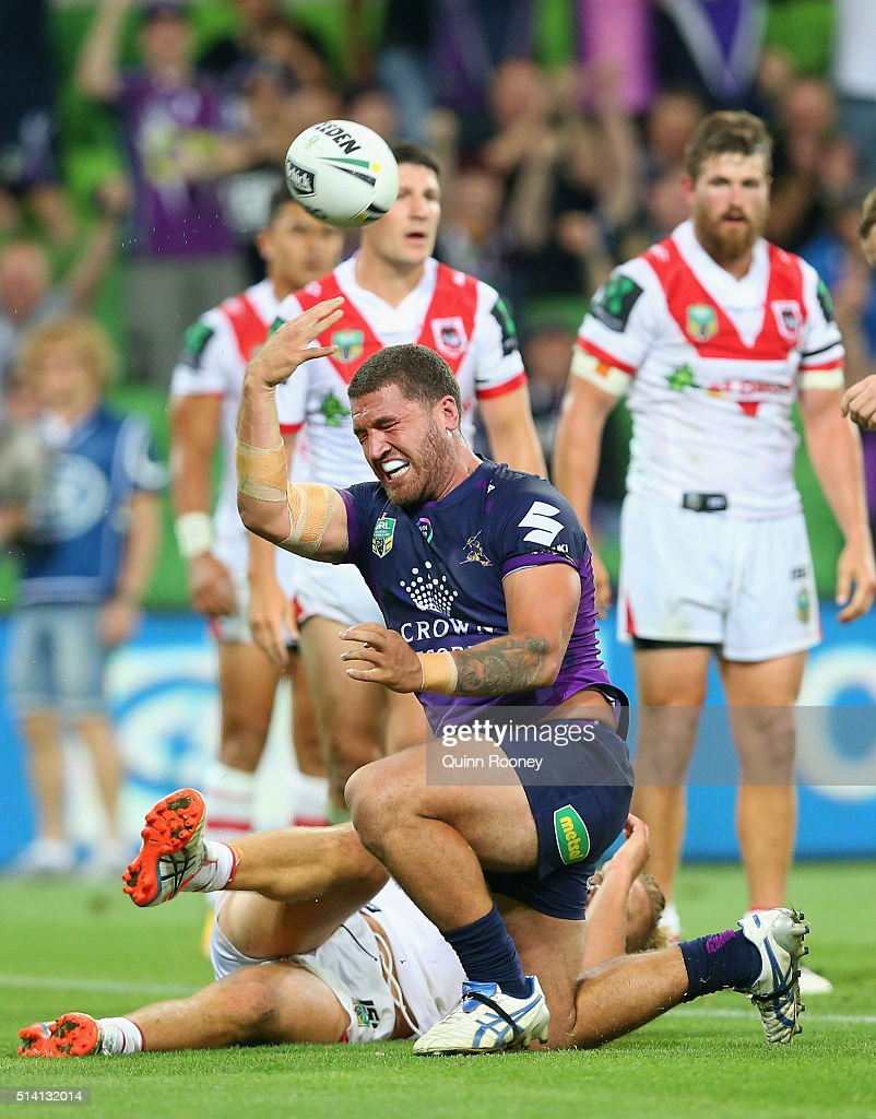 Kenny Bromwich of the Storm celebrates after scoring a try during the round one NRL match between the Melbourne Storm and the St George Illawarra Dragons at AAMI Park on March 7, 2016 in Melbourne, Australia.