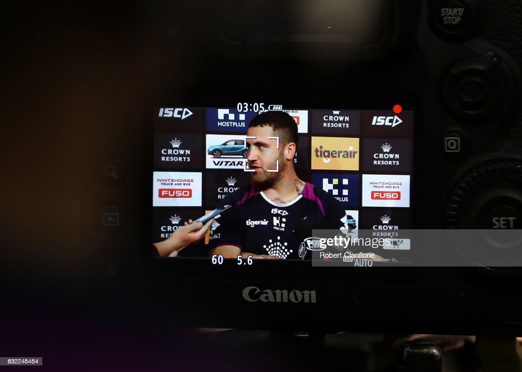 Kenny Bromwich of the Storm speaks to the media during a Melbourne Storm NRL media opportunity at AAMI Park on August 16, 2017 in Melbourne, Australia.