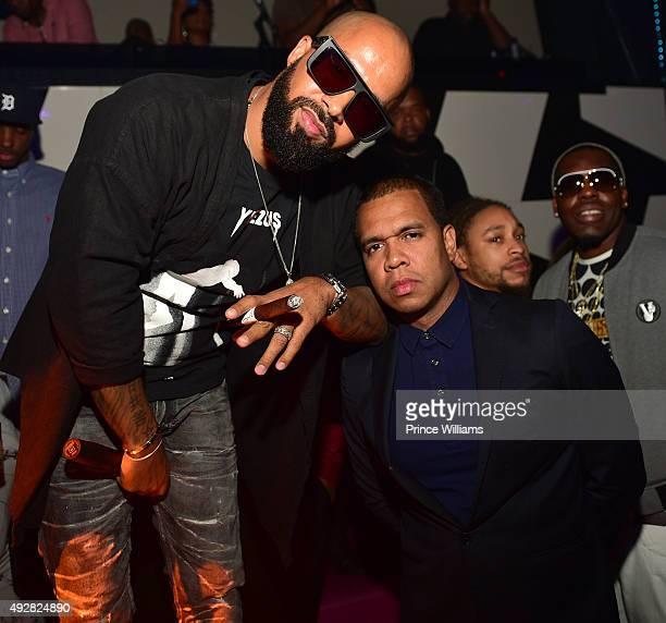 Kenny Burns and Johnny Nunez attend Jeezy's Birthday Celebration at Gold Room on October 8 2015 in Atlanta Georgia