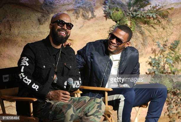 Kenny Burns and Marcos 'Kosine' Palacios attend BET Network's 'Mancave' Event at Goya Studios on February 16 2018 in Los Angeles California