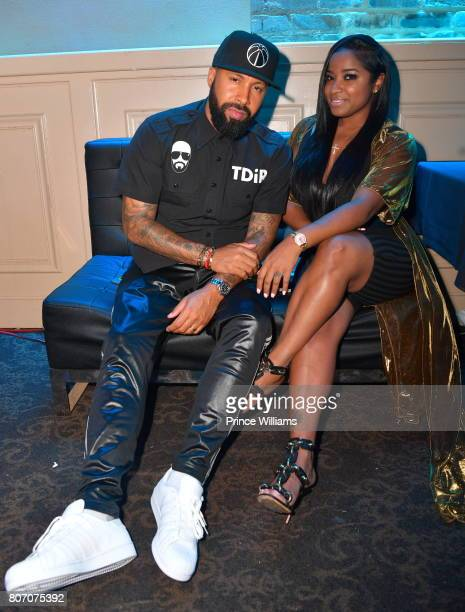 Kenny Burns and Toya Wright attend The Art of Luxury 'Black and White Blowout' Party at Metropolitan Nightclub on July 2 2017 in New Orleans Louisiana