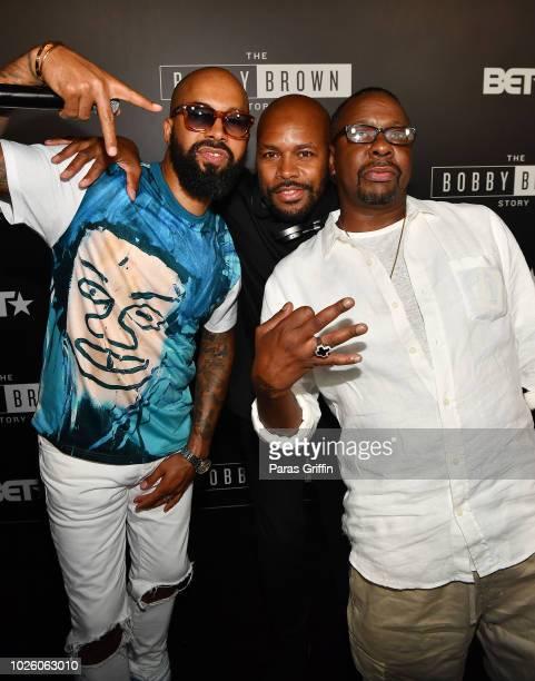 Kenny Burns DJ DNice and Bobby Brown at The BobbyQ Atlanta Premiere Of The Bobby Brown Story at Atlanta Contemporary Arts Center on September 1 2018...