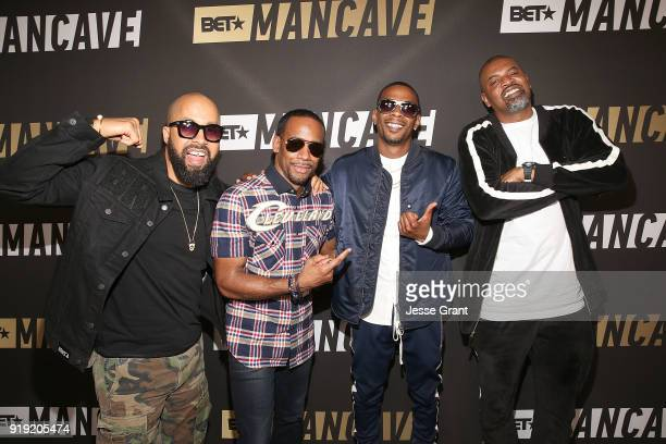 Kenny Burns Jeff Johnson Marcos 'Kosine' Palacios and Gerald 'Slink' Johnson attend BET Network's 'Mancave' Event at Goya Studios on February 16 2018...