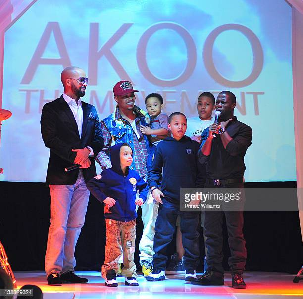 Kenny Burns, King Harris, T.I., Major Harris, Domani Harris, Messiah Harris and Kevin Hart attend the Akoo 2012 fashion presentation on February 2,...