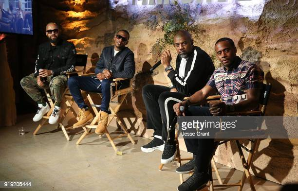 Kenny Burns Marcos 'Kosine' Palacios Gerald 'Slink' Johnson and Jeff Johnson attend BET Network's 'Mancave' Event at Goya Studios on February 16 2018...