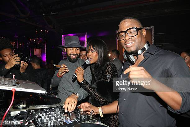 Kenny Burns Naomi Campbell and DJ MOS attend Deleon Tequila Launch Party at Cedar Lake on November 20 2014 in New York City