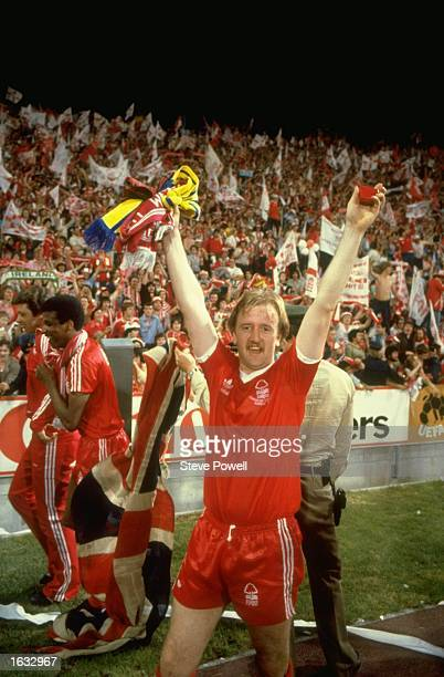 Kenny Burns of Nottingham Forest celebrates after their victory in the European Cup final against Malmo in Munich Germany Nottingham Forest won the...