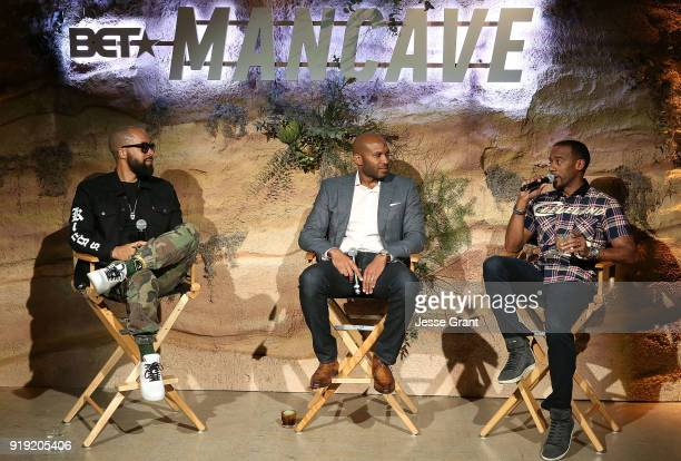 Kenny Burns Rory Wilfork and Jeff Johnson attend BET Network's 'Mancave' Event at Goya Studios on February 16 2018 in Los Angeles California