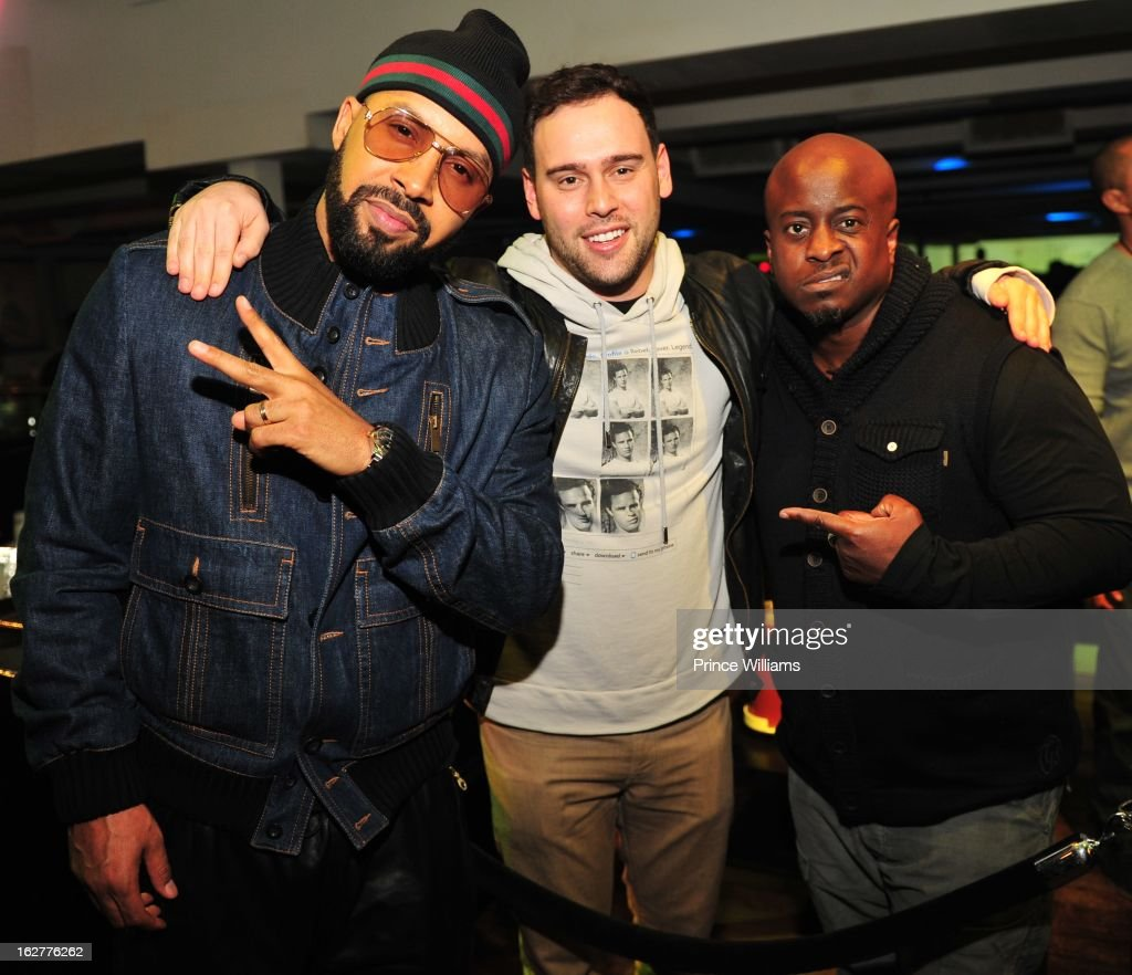Kenny Burns, Scooter Braun and Effe attend the So So Def anniversary party hosted by Jay Z at Compound on February 23, 2013 in Atlanta, Georgia.