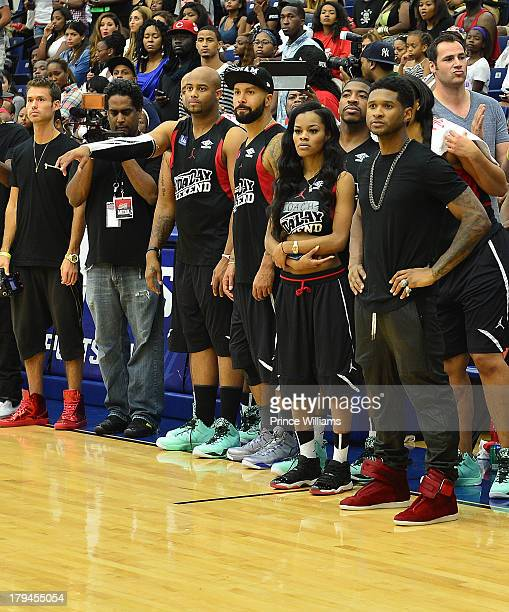 Kenny Burns Teyana Taylor DJ Holiday and Usher attend LudaDay Weekend Celebrity Basketball Game at Georgia State University on September 1 2013 in...