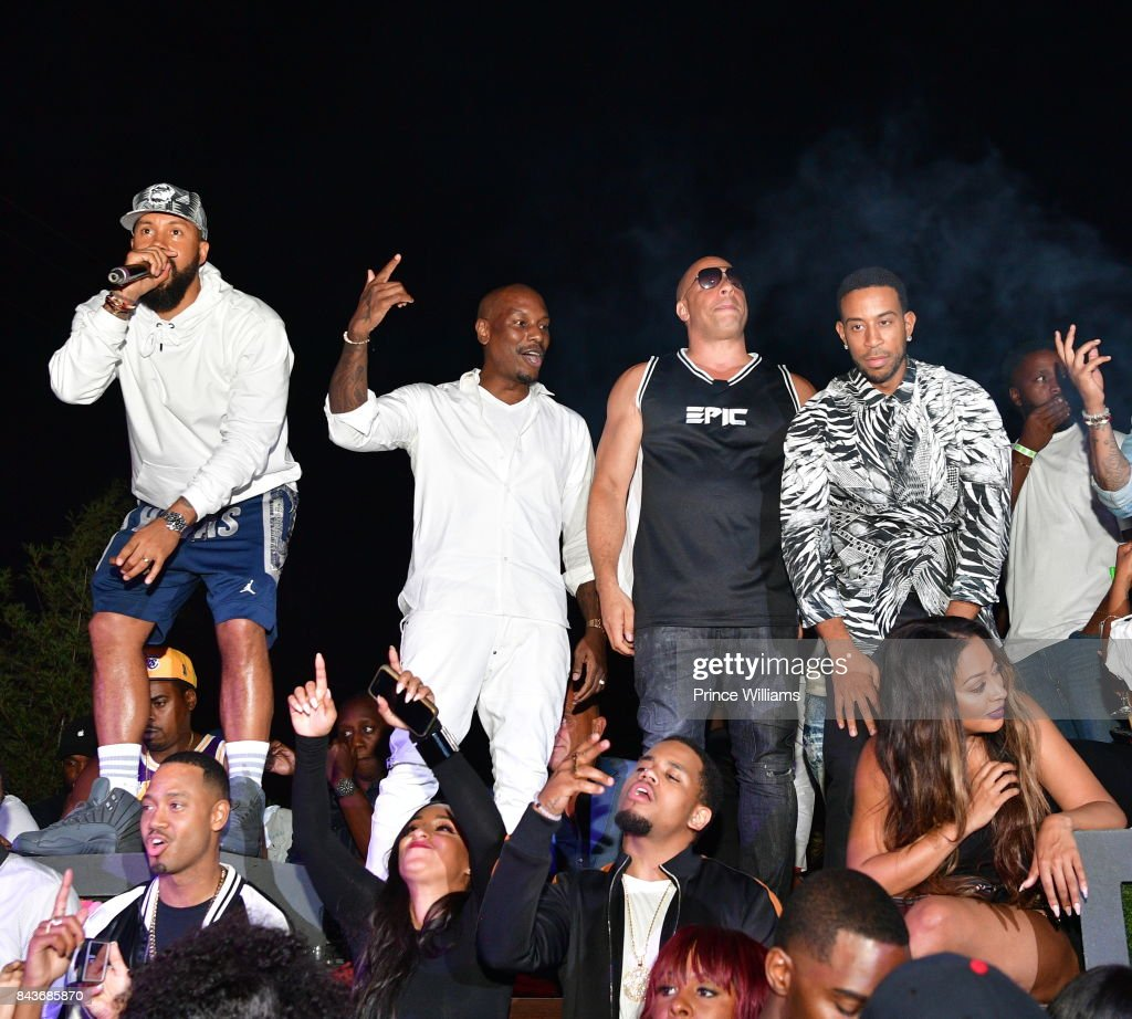Kenny Burns, Tyrese, Vin Diesel and Ludacris attend the Luda birthday celebration at Compound on September 3, 2017 in Atlanta, Georgia.