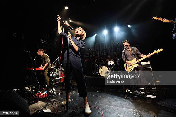 Kenny Carkeet Aaron Bruno and Marc Walloch perform onstage during Awolnation live at Live Nation's 2nd Annual National Concert Day presented by Citi...