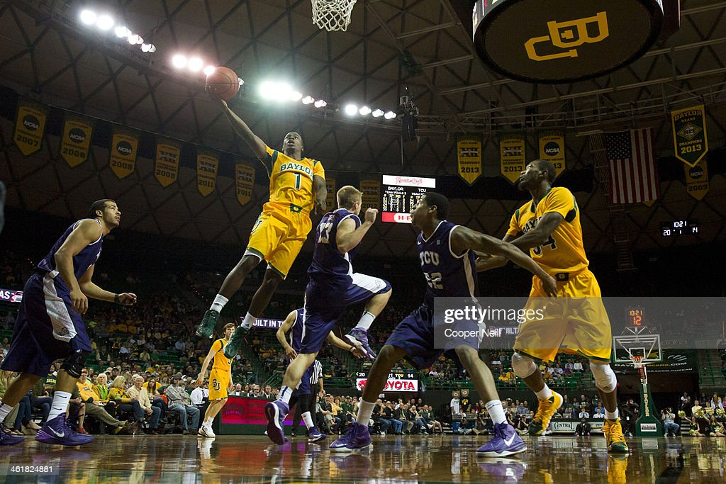 Kenny Chery #1 of the Baylor Bears drives to the basket against the TCU Horned Frogs on January 11, 2014 at the Ferrell Center in Waco, Texas.
