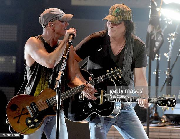 Kenny Chesney and David Lee Murphy perform onstage during Kenny Chesney's The Big Revival 2015 Tour kickoff for a 55 show run through August The...