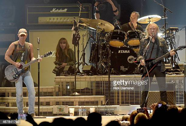 Kenny Chesney and Joe Walsh perform onstage during Kenny Chesney's The Big Revival 2015 Tour kickoff for a 55 show run through August The highenergy...