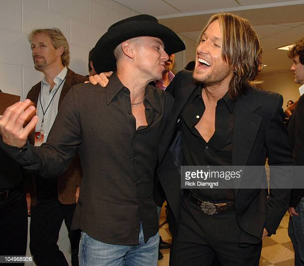 Kenny Chesney and Keith Urban during 2006 CMT Music Awards Backstage and Audience at Curb Event Center at Belmont University in Nashville Tennessee...