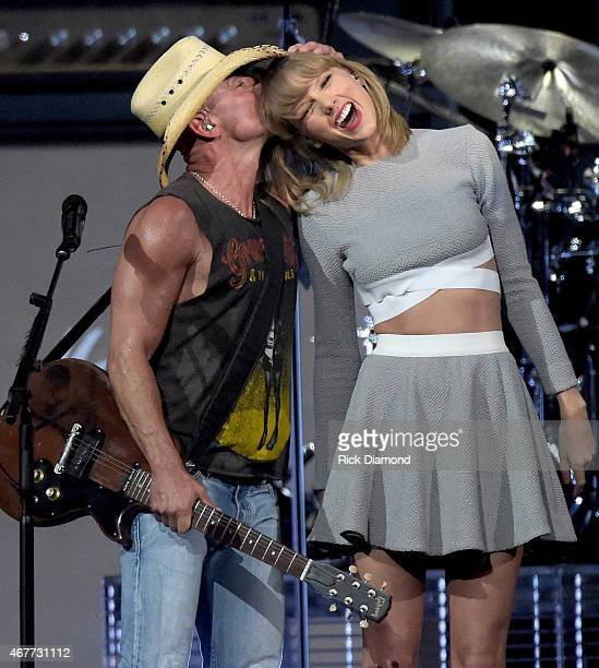 Kenny Chesney and Taylor Swift perform onstage during Kenny Chesney's The Big Revival 2015 Tour kickoff for a 55 show run through August The...