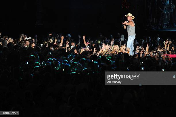 Kenny Chesney performs during the Brothers of the Sun tour at Ford Field on August 18 2012 in Detroit Michigan