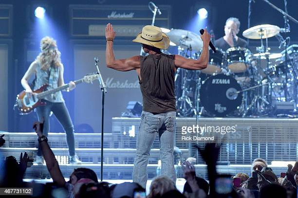 Kenny Chesney performs onstage during Kenny Chesney's The Big Revival 2015 Tour kickoff for a 55 show run through August The highenergy opening night...
