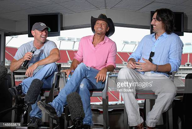 Kenny ChesneyTim McGraw and Jake Owen attend the 'Brothers of the Sun' Tour KickOff Press Conference at Raymond James Stadium on June 1 2012 in Tampa...