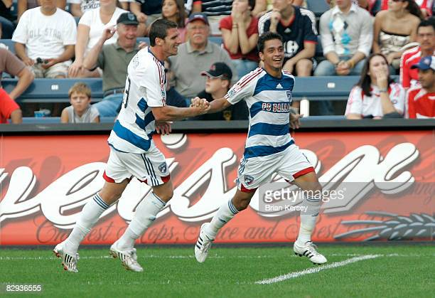 Kenny Cooper and Bruno Guarda of FC Dallas celebrate Guarda's goal against the Chicago Fire during the first half at Toyota Park on September 21 2008...