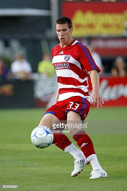 Kenny Cooper of FC Dallas controls the ball against the Kansas City Wizards during the game at Community America Ballpark on August 23, 2008 in...