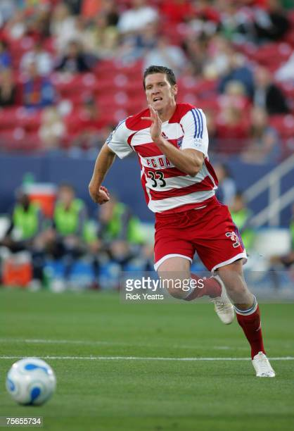 Kenny Cooper of FC Dallas goes for the ball against the New York red Bulls on April 26 2007 in Frisco TX