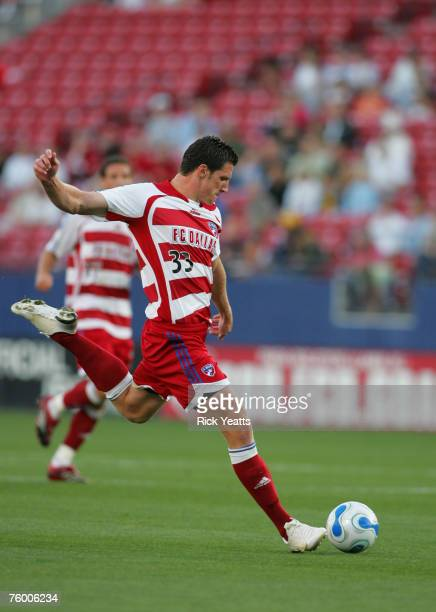 Kenny Cooper of FC Dallas goes for the ball against the New York red Bulls on April 26, 2007 in Frisco, TX.