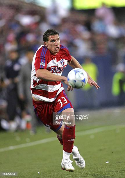 Kenny Cooper of FC Dallas takes control of the ball during the New York Red Bull v FC Dallas match on April 12, 2008 at Pizza Hut Park in Frisco...