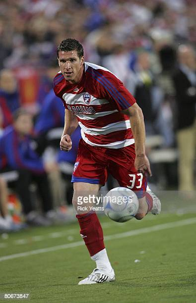 Kenny Cooper of FC Dallas takes the ball down field against the New York Red Bulls on April 12, 2008 at Pizza Hut Park in Frisco, Texas.