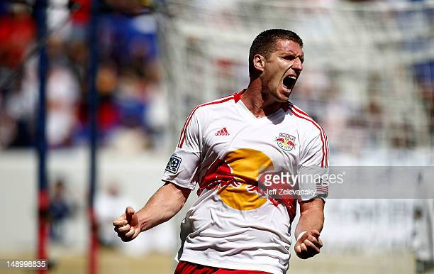 Kenny Cooper of the New York Red Bulls reacts after scoring a goal against the Philadelphia Union at Red Bull Arena on July 21 2012 in Harrison New...