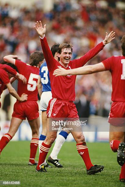 Kenny Dalglish celebrates after Liverpool had beaten Everton 31 after extra time to win the 1986 FA Cup Final on May 10th 1986 in London England