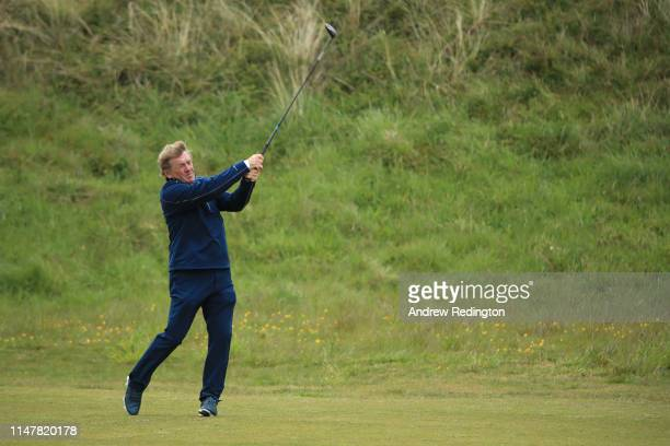 Kenny Dalglish exfootballer in action during the Pro Am prior to the start of the Betfred British Masters at Hillside Golf Club on May 08 2019 in...