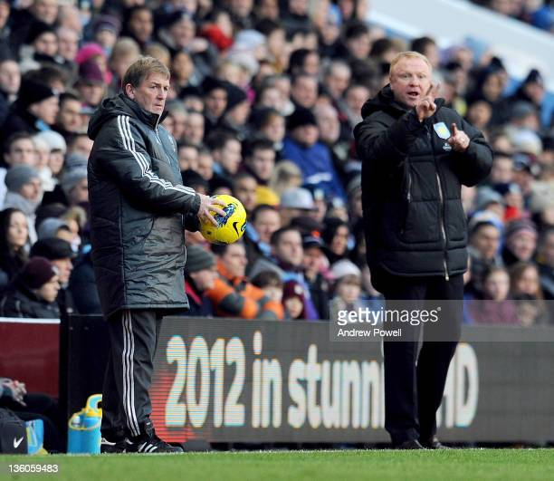 Kenny Dalglish manager of Liverpool and Alex McLeish manager of Aston Villa during the Barclays Premier League match between Aston Villa FC and...