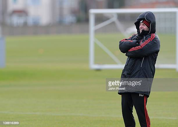Kenny Dalglish manager of Liverpool during a training session at Melwood Training Ground on February 4, 2011 in Liverpool, England.