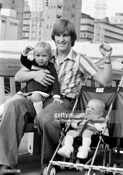 Kenny Dalglish of Celtic and Scotland with his daughter Kelly and baby son Paul the morning after the 1978 FIFA World Cup qualification match between...