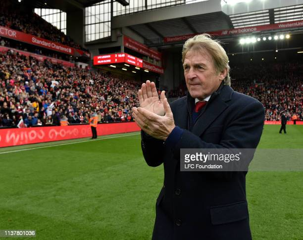 Kenny Dalglish of Liverpool FC Legends showing his appreciation to the fans at the end of the friendly match between Liverpool FC Legends and AC...