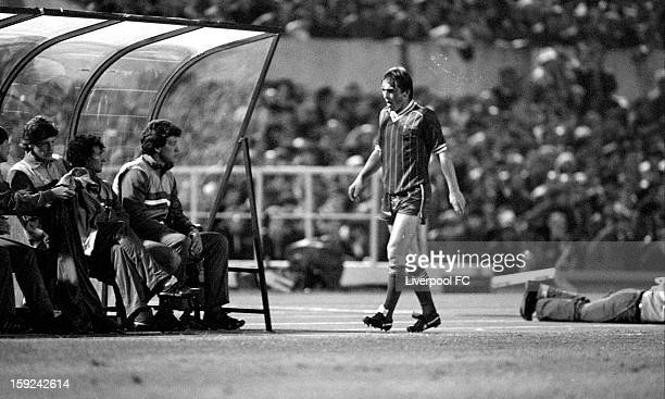 Kenny Dalglish of Liverpool looks exhausted as he is substituted in extratime on the 95th minute for Michael Robinson during the UEFA European Cup...