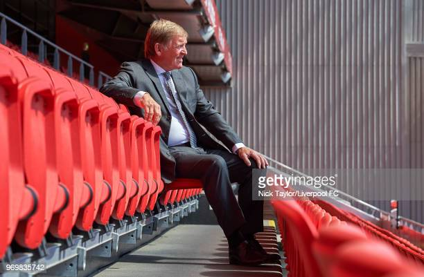 Kenny Dalglish poses for a portrait at Anfield on June 07 2018 in Liverpool United Kingdom The former footballer and manager will receive a...