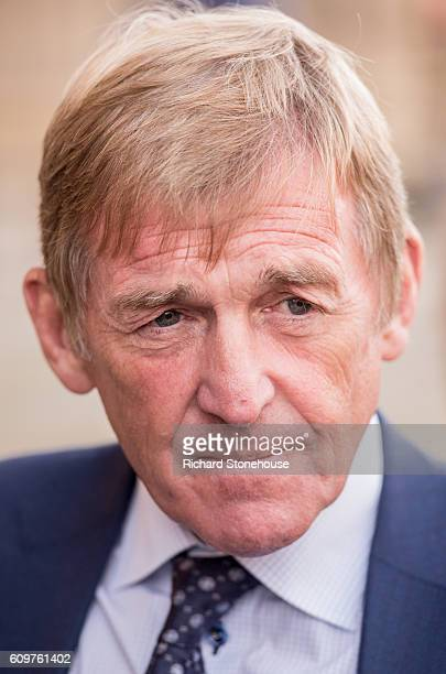 Kenny Dalglish speaks to the press outside St George's Hall after he was honoured with the Freedom of the City of Liverpool during a ceremony held at...