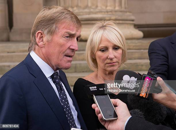 Kenny Dalglish speaks to the press with his wife Marina outside St George's Hall after he was honoured with the Freedom of the City of Liverpool...