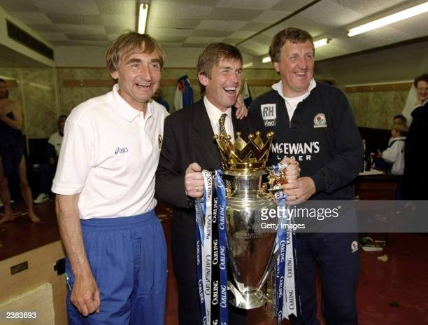 Kenny Dalglish the manager of Blackburn Rovers celebrates with his staff of Ray Harford and Tony Parkes after winning the Premiership trophy during...