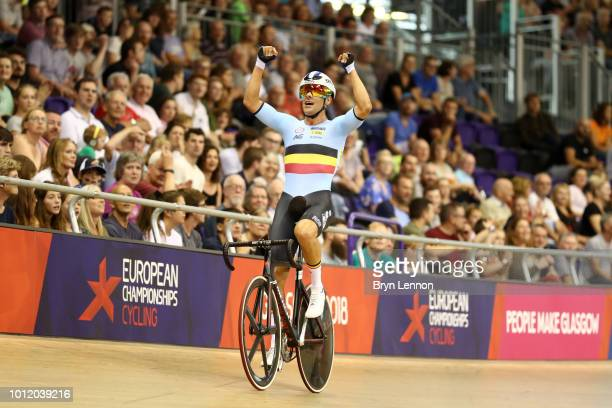 Kenny De Ketele of Belgium celebrates winning the Men's Madison final during the track cycling on Day five of the European Championships Glasgow 2018...