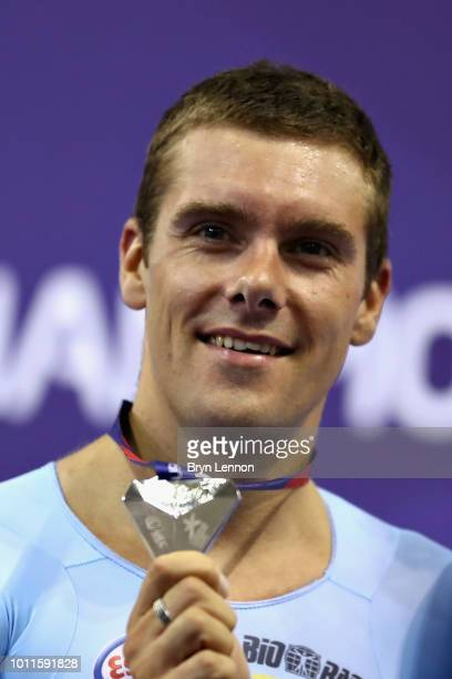 Kenny De Ketele of Belgium celebrates with his silver medal from the Mens 40km Points Race during the track cycling on Day Four of the European...