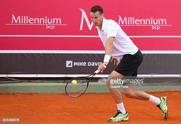 Kenny de Schepper from France in action during the match between Farrukh Dustov and Kenny de Schepper for Millennium Estoril Open at Clube de Tenis...