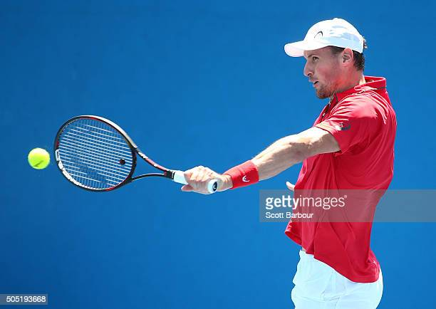 Kenny De Schepper of France plays a backhand in his match against Tim Smyczek of the United States during the third round of 2016 Australian Open...