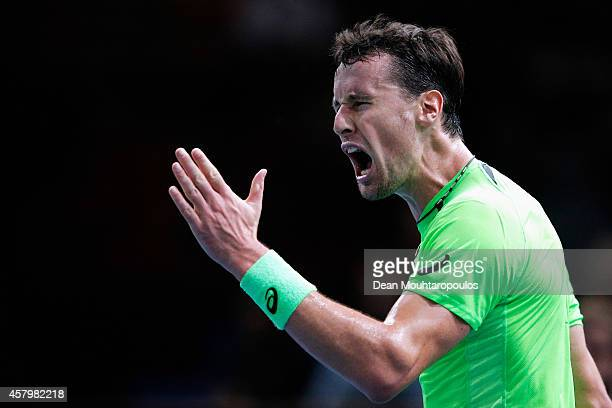 Kenny De Schepper of France reacts after a missed point in his match against Jeremy Chardy of France during day 2 of the BNP Paribas Masters held at...