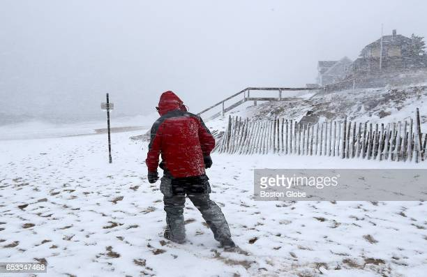 Kenny DeFazio checks out the scene on Plum Island MA during a winter storm on Mar 14 2017 DeFazio who is from Mansfield was out with his wife...