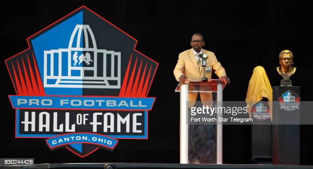 Kenny Easley during his induction speech The 2017 NFL Hall of Fame class including Dallas Cowboys owner Jerry Jones and former TCU running back...